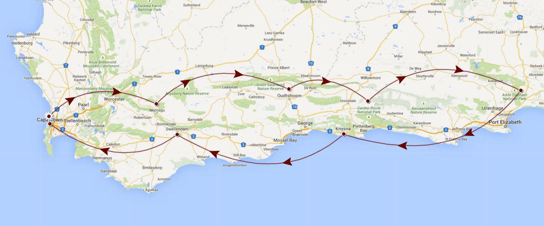Annemarieu0027s South African Safari Route Map
