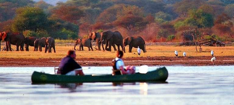 Guests Canoeing on Lake Manyara, Tanzania