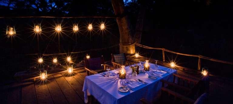 Dining at Night at Gibbs Farm Accommodation
