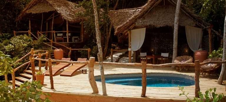 Pool and Lounge Lodge at Fundu Lagoon in Zanzibar, Tanzania