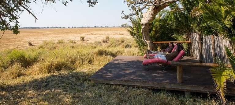 Busanga Bush Camp Deck, Kafue National Park in Zambia