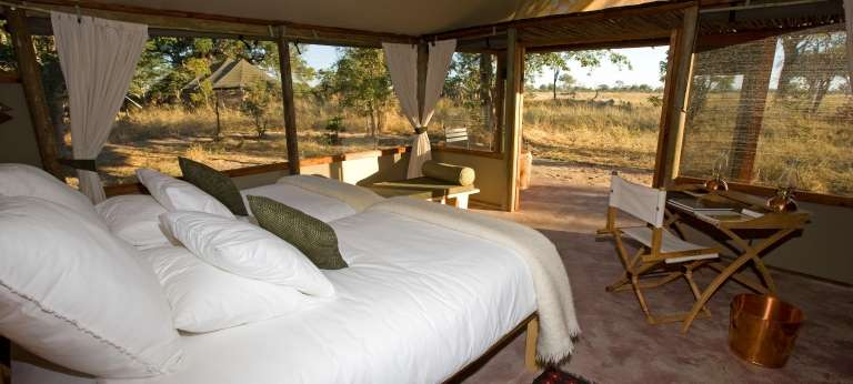 Bedroom View at Little Makalolo Camp in Hwange National Park, Zimbabwe