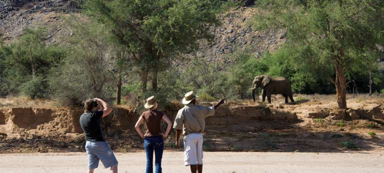 Guests with Guide on Safari at Damaraland Camp in Damaraland
