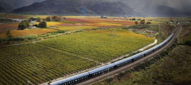 Rovos Rail passing trought the beautiful landscape, South Africa