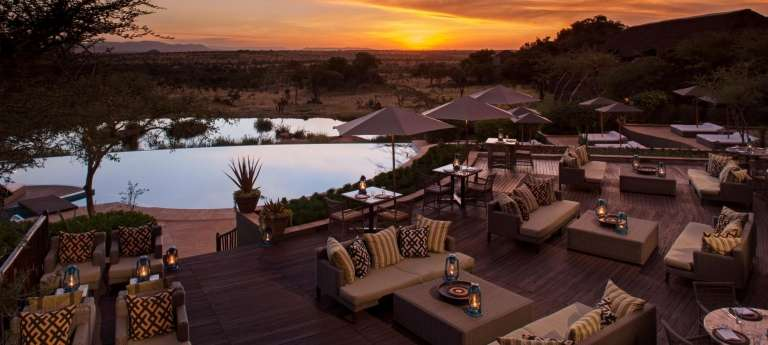 Four Seasons Safari Lodge Pool Area in Serengeti, Tanzania