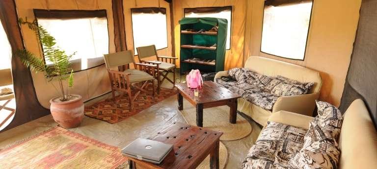 The livingroom at Kirurumu Ngorongoro Camp, Accomodation, Tanzania