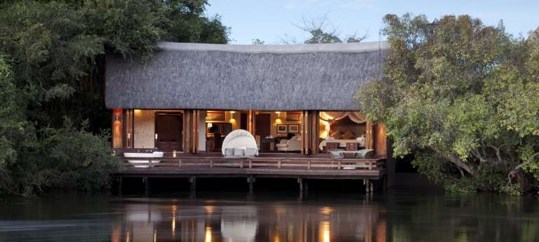 Royal Chundu Island Lodge suite view from the outside, Accomodation, Zambia
