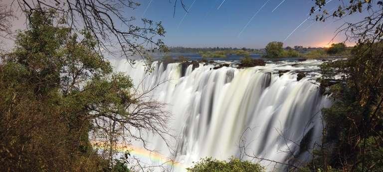 Victoria falls with lunar rainbow, Royal Chundu River Lodge, Zambia