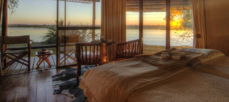 Sunrise view from the room at Chobe Savanna Lodge,  Namibia, Accomodation