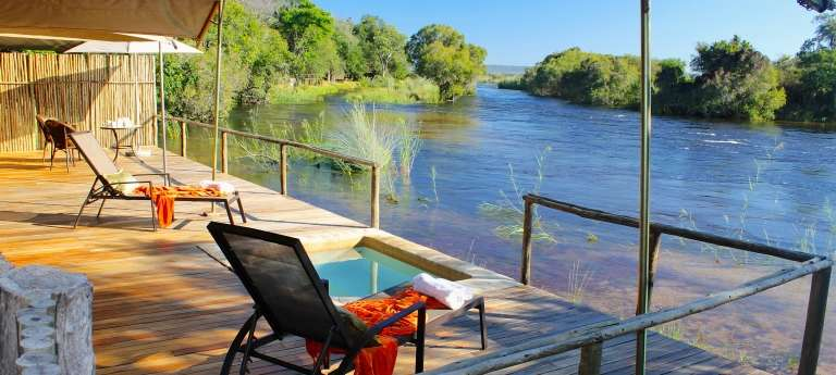 Showroom pool deck Zambezi Sands River Camp, Zimbabwe