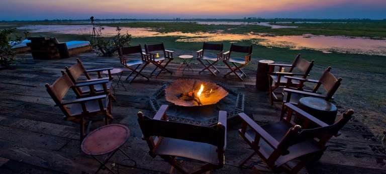 A Campfire on an safari in Botswana, Zarafa Camp