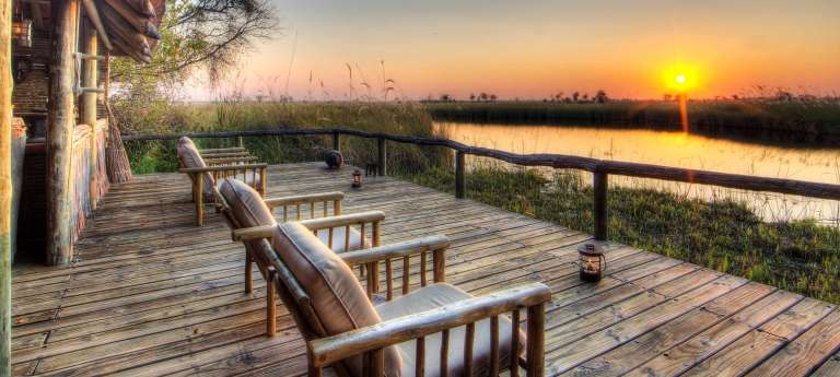 Xakanaxa Camp Deck at Sunset in Okavango Delta, Botswana