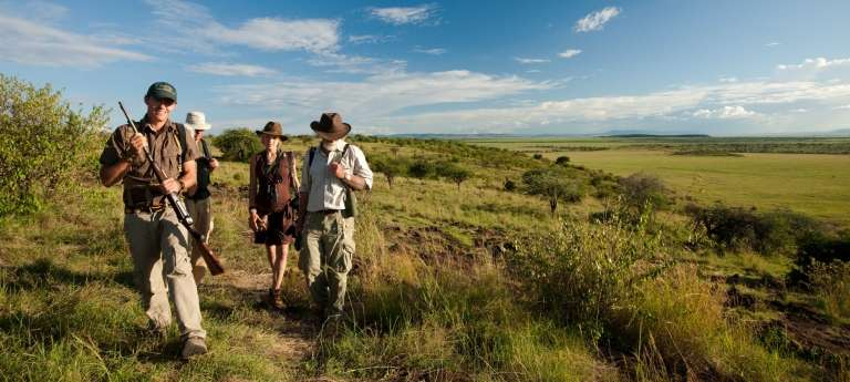 Mara Plains Camp Guests on a Game Walk in Kenya