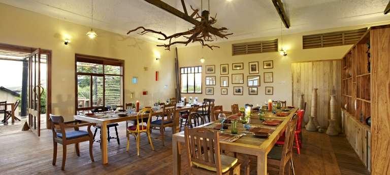 Volcanoes Kyambura Lodge Dining Area in Uganda