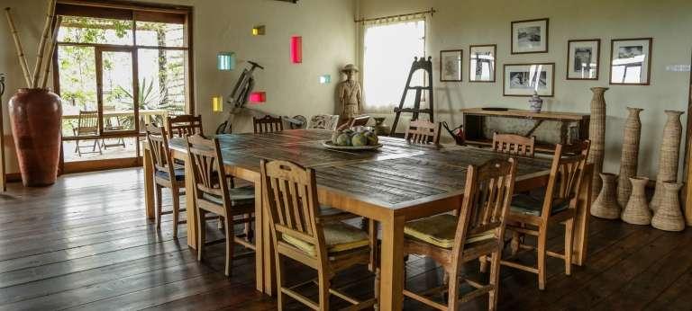 Dining at Volcanoes Kyambura Lodge