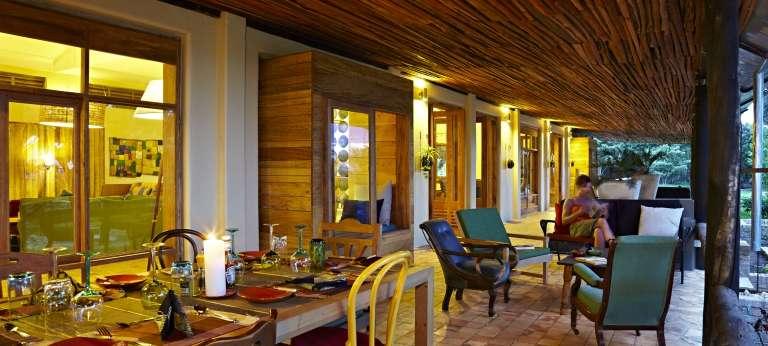 Main Terrace at Volcanoes Kyambura Lodge in Uganda