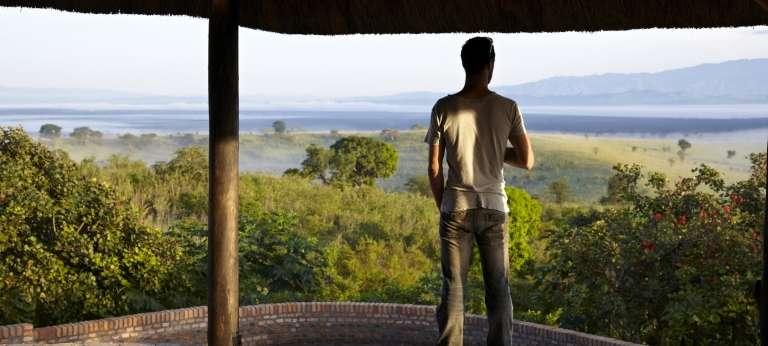 Volcanoes Kyambura Lodge Guest enjoying the View