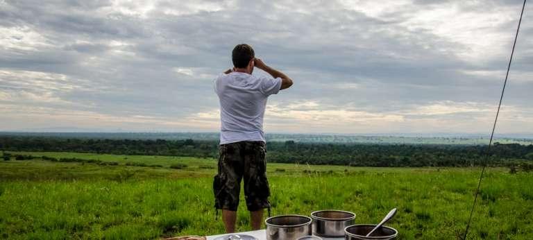 Ishasha Wilderness Camp Guests viewing the Landscape in Queen Elizabeth National Park, Uganda