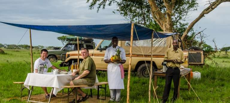 Safari Dining at Ishasha Wilderness Camp in Queen Elizabeth National Park