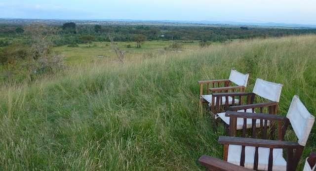 Ishasha Wilderness Camp Outdoor Sitting Area in  Queen Elizabeth National Park, Uganda