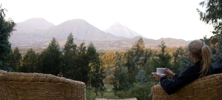 Coffee with a View at Governor's Camp Sabyinyo Silverback Lodge in Volcanoes National Park, Rwanda