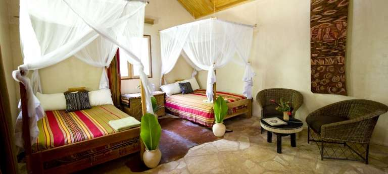 Primate Lodge Kibale Forest cottage twin bedroom, Uganda