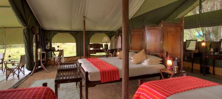 Bedroom Interior Elephant Pepper Camp, Masai Mara in Kenya