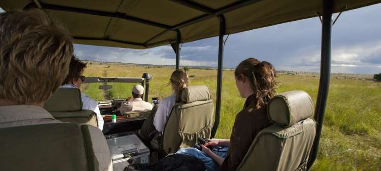 A game drive safari at Sayari Camp, Serengeti
