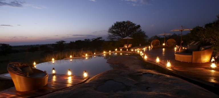 The Sayari Mara Rock Pool at Night at Sayari Camp, Serengeti