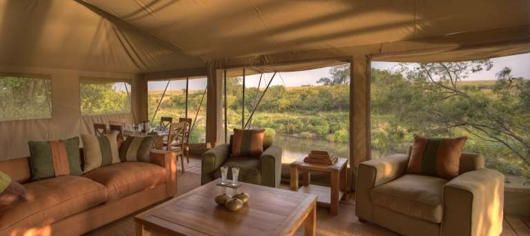 Rekero Mara Camp lounge at deck area, Masai Mara, Kenya