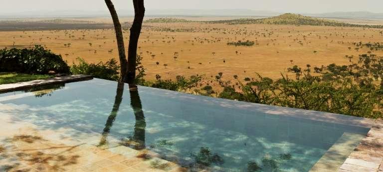 Singita Sasakwa Lodge View from Pool in Serengeti National Park, Tanzania
