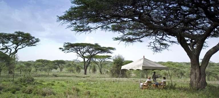 Guests Enjoying the View at Serengeti Under Canvas in Serengeti National Park