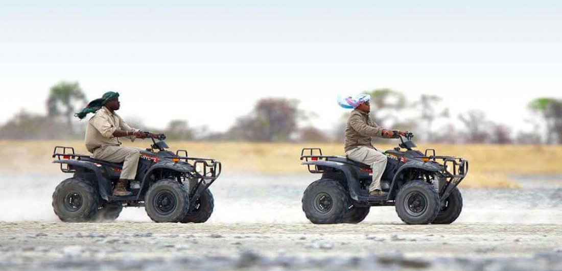 quad biking across the makgadikgadi pans