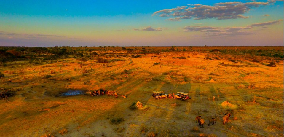 somalisa camp hwange national park zimbabwe drone safari footage game drive