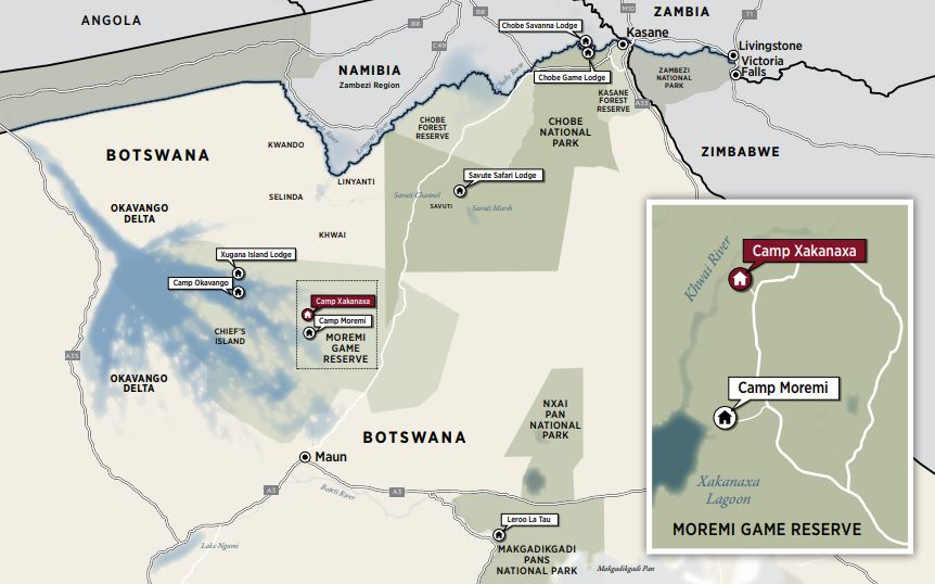map camp xakanaxa okavango delta botswana accommodation safari
