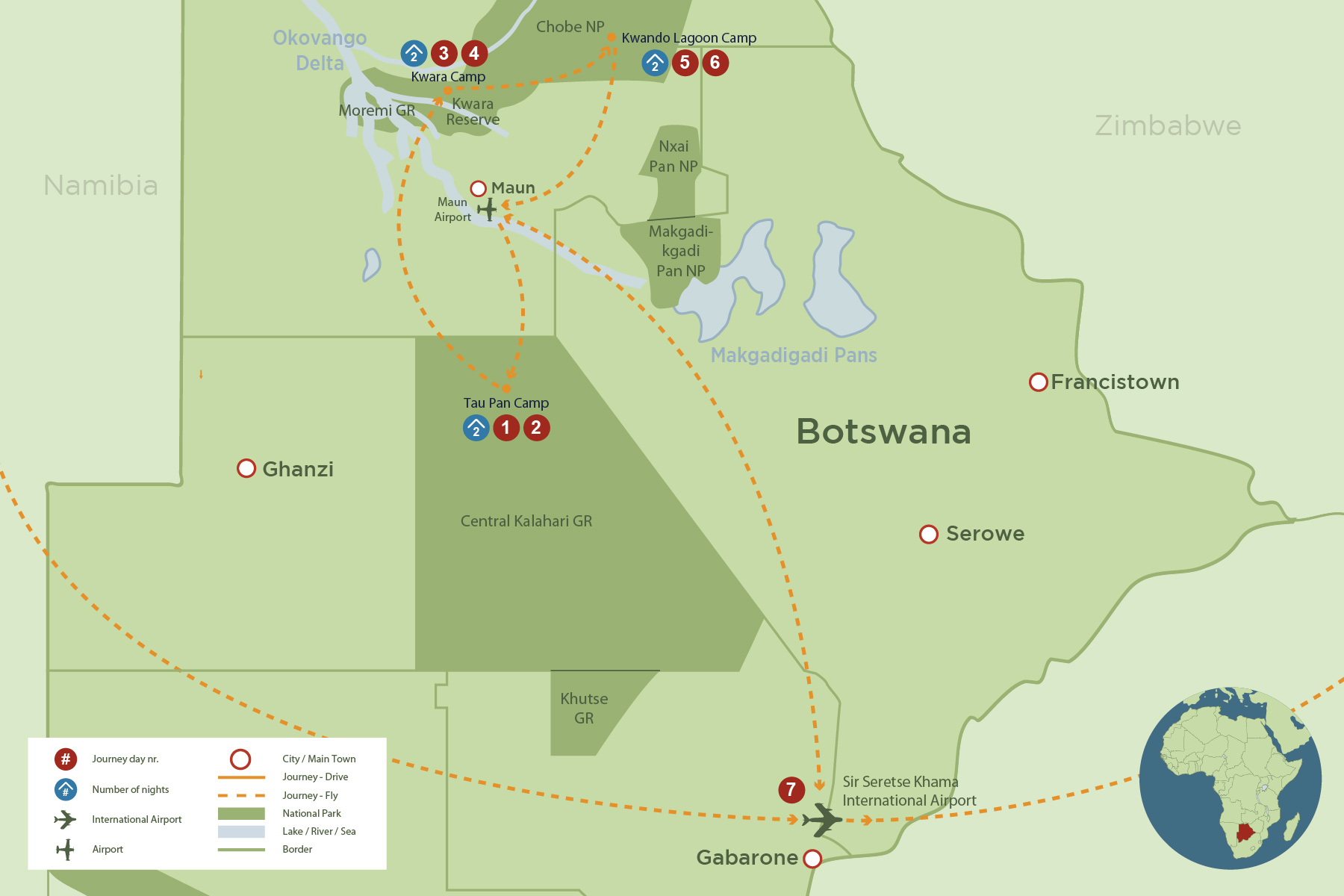 Botswana green season safari safari map