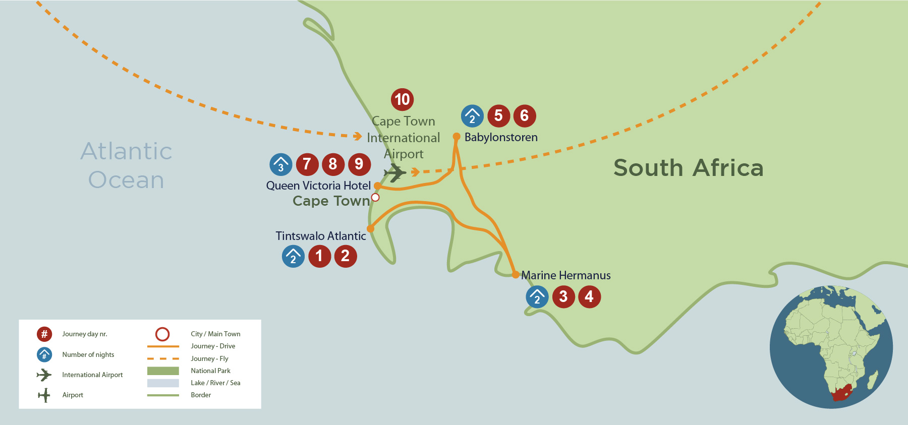 Cape Town, Hermanus and Winelands Self Drive (SA 10 Days) safari map