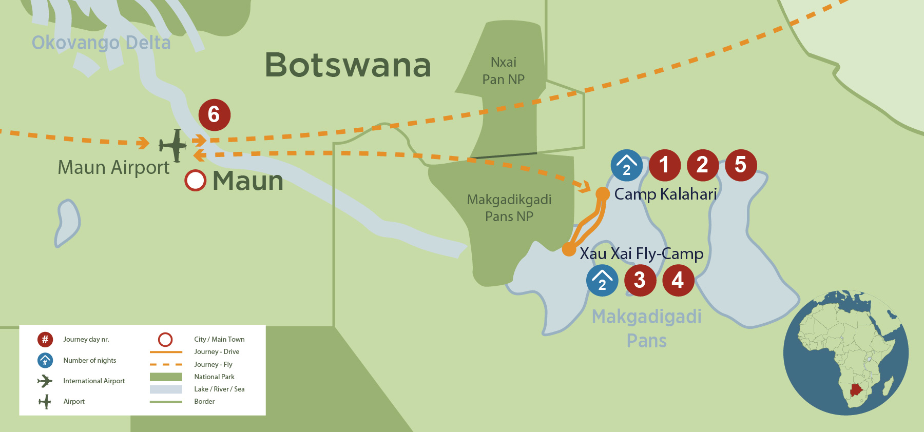 Horse Riding Safari on the Makgadikgadi Salt Pans (6 Days) safari map