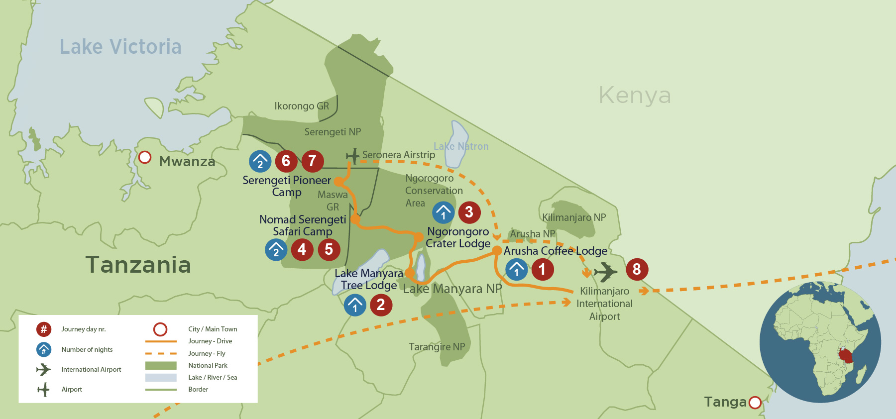Affordable Green Season Safari in Tanzania (8 days) safari map