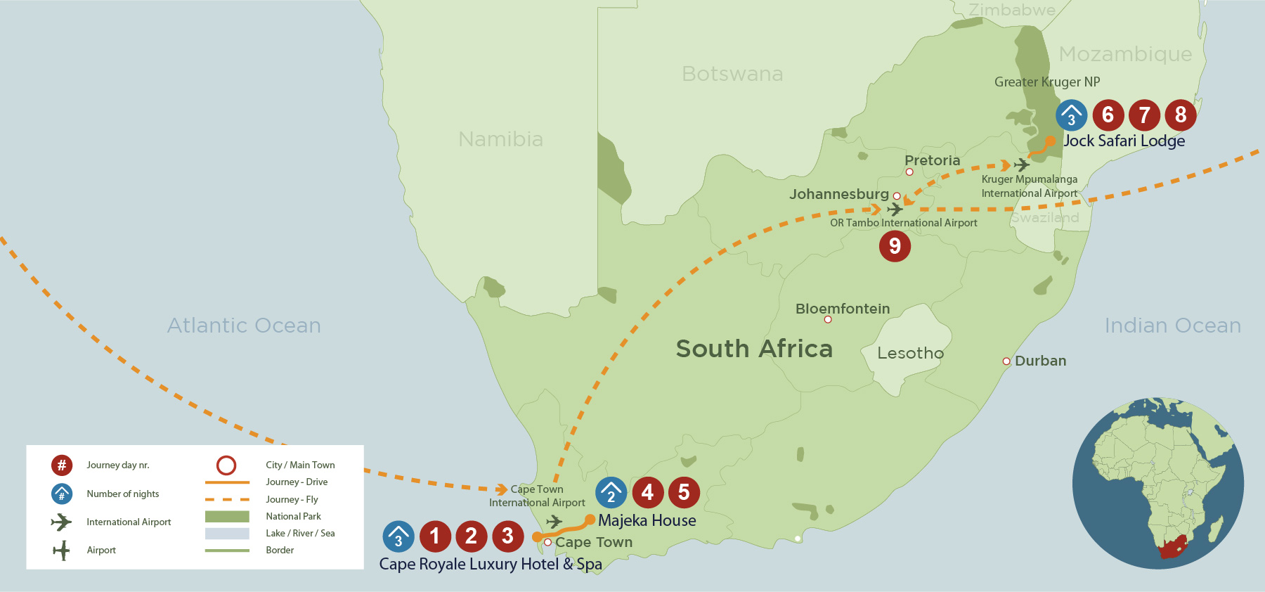 Cape Town, Winelands & Kruger Luxury Journey (SA 9 days) safari map