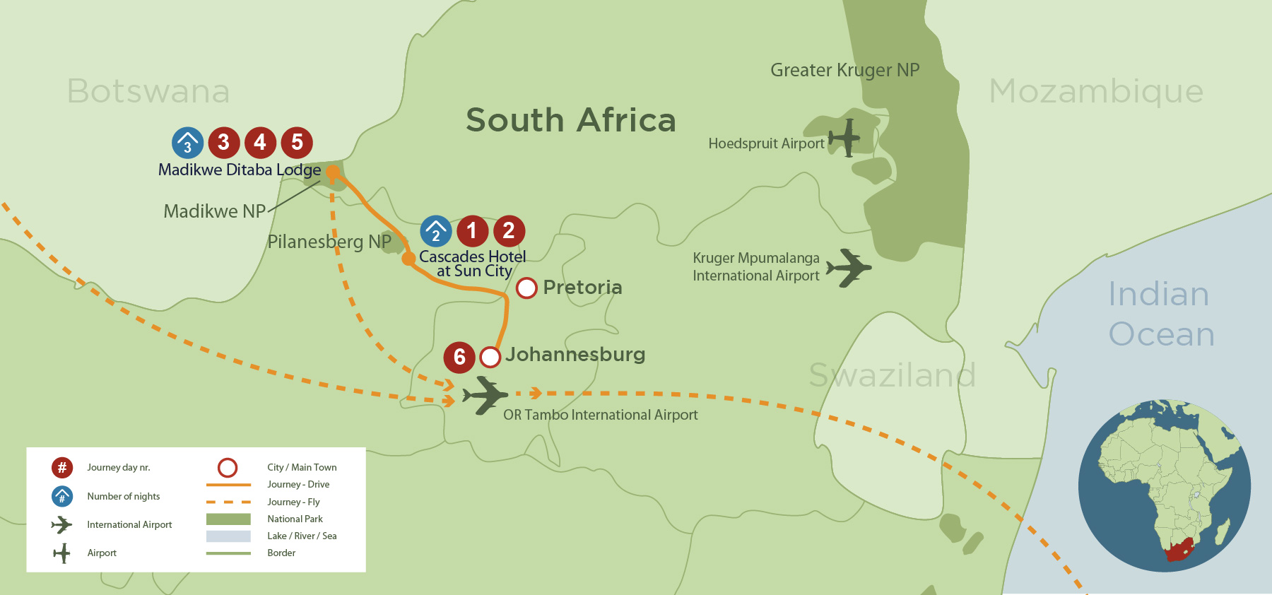 Sun City and Madikwe Family Safari (6 days) safari map