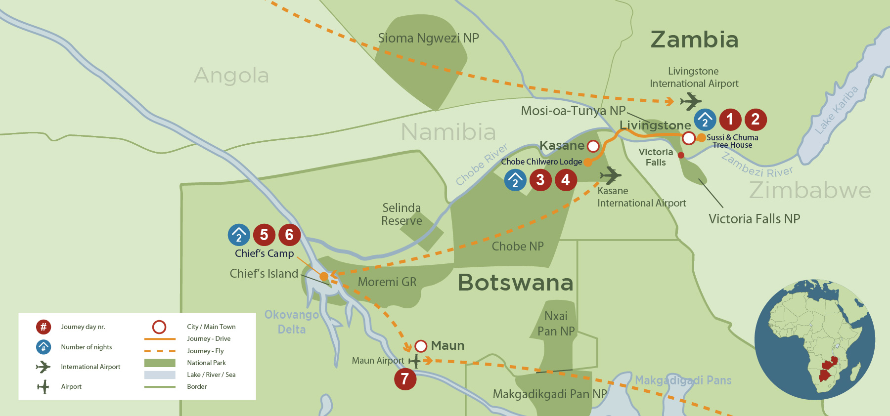 Victoria Falls, Okavango Delta and Chobe Safari (7 days) safari map