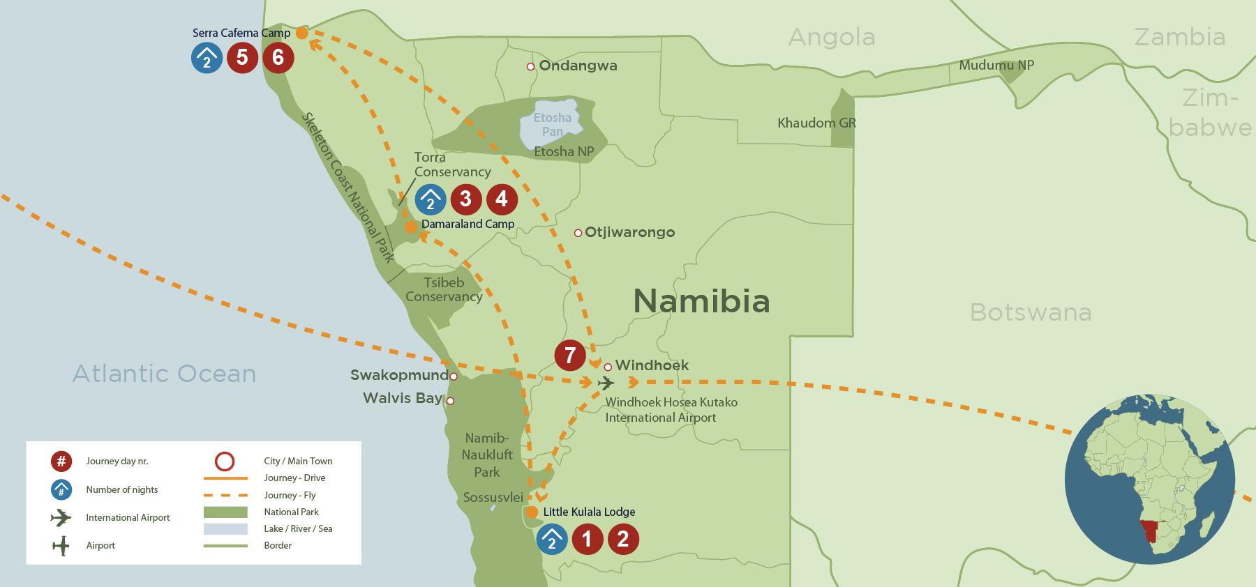 Luxury Namibia: Sossusvlei, Damaraland and Kunene (SA 7 days) safari map