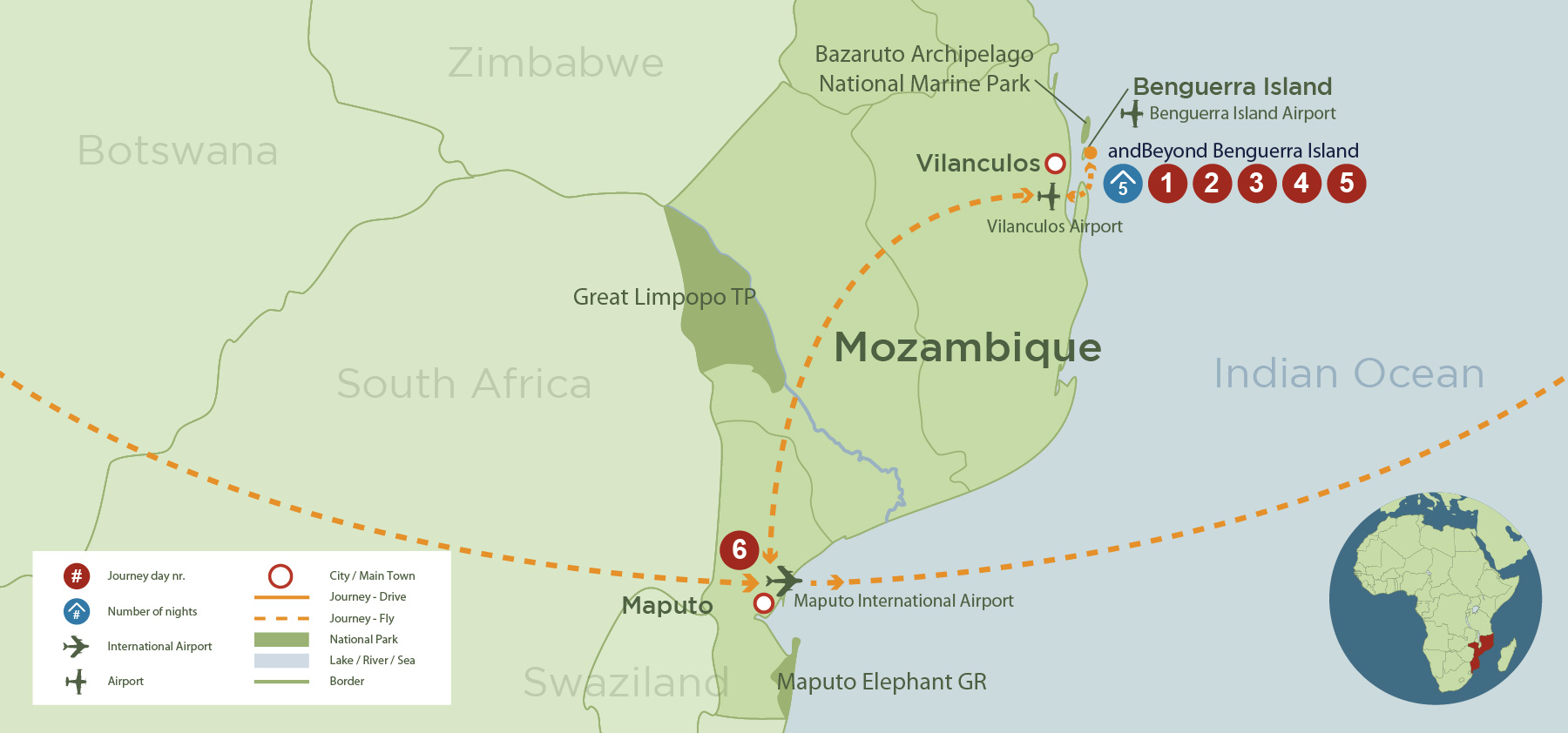 Mozambique Honeymoon (SA 6 days) safari map