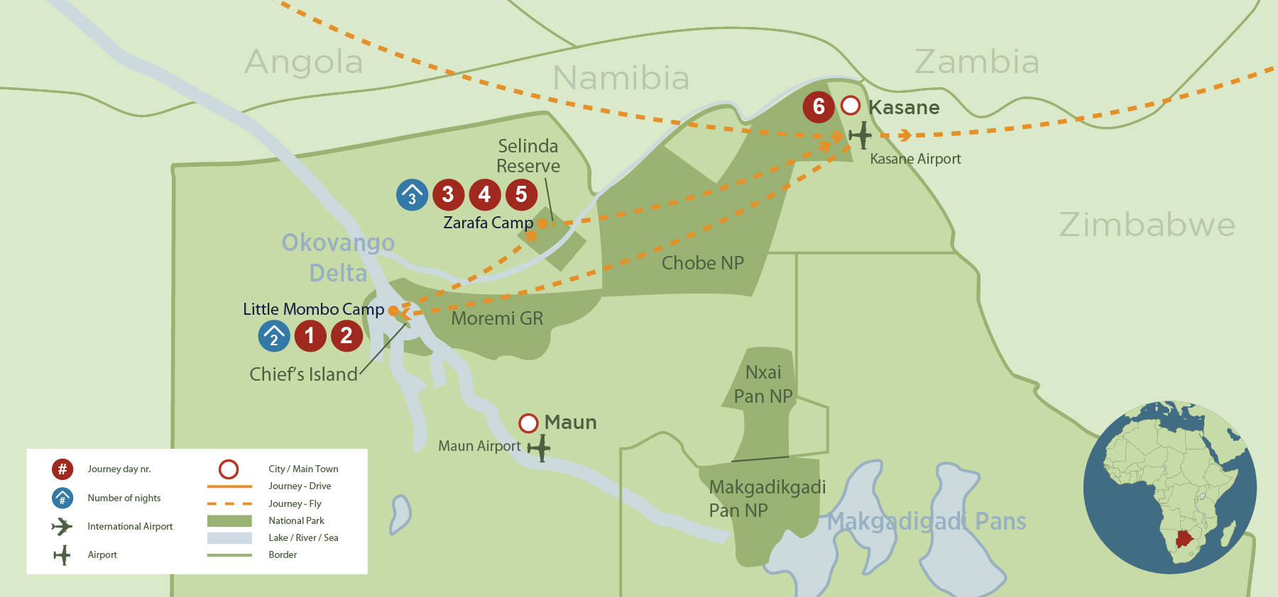 Big Five safari in the Moremi Game Reserve safari map